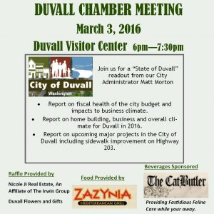 State of Duvall Report – At the March 3rd Chamber meeting!